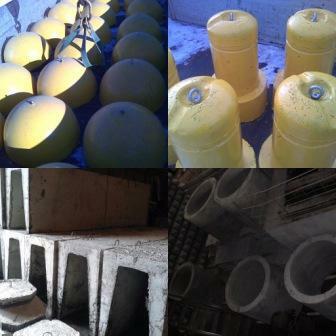 Полусфера бетонная, трубы асбестоцементные, стремянки C-1