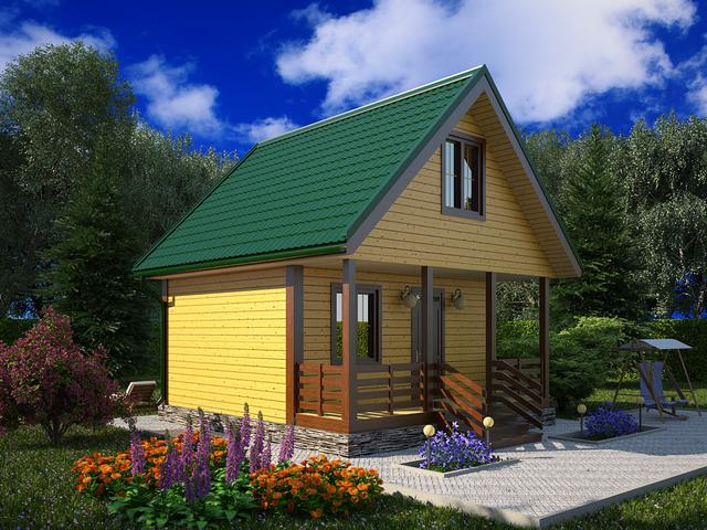 Дом из бруса 150х150 с террасой 6х6,5м